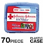 Johnson and Johnson 8274 Portable Travel First Aid Kit - 70 Pieces, Plastic Case, Adhesive Bandages, Antibiotic Ointment, Cleansing Wipes, Cortaid, Tylenol