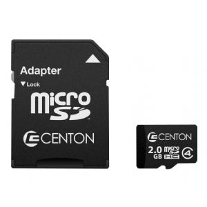 Centon – Flash memory card (SD adapter included) – 2 GB – Class 4 – mi