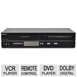 Philips dvp3345vb dvd /vcr combo player w/direct dubbing+remote.