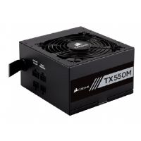 Corsair TX-M Series TX550M Power Supply Unit - 550 Watts, Semi-Modular, 80PLUS GOLD Certified, Active PFC, Low-Profile, 120mm Fan, AC 100-240 V, 47Hz-63Hz Frequency, Black - CP-9020133-NA